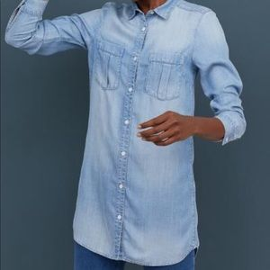 EUC H&M Long Tee Denim Button-Down Tunic